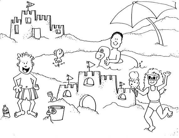 Day at the Beach Coloring Page