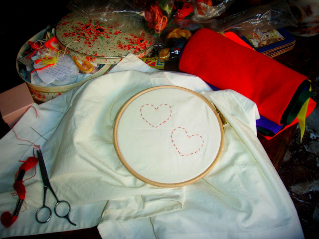 pillow case hand sewed hearts embroidery