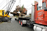 Steam crane loaded on truck