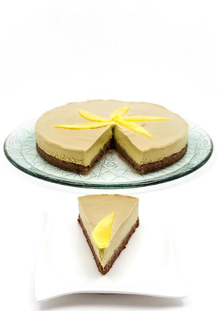 Raw mango cake shot for blog