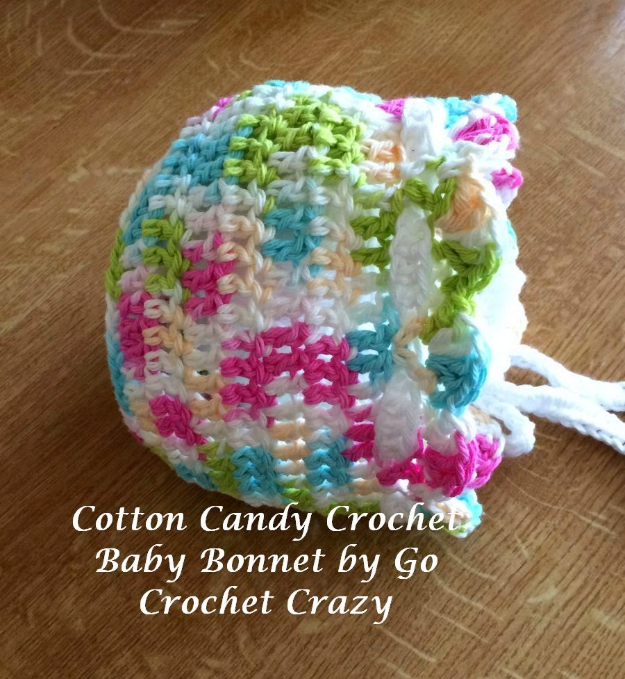Pattern available for Cotton Candy Crochet Baby Bonnet by Go Crochet Crazy