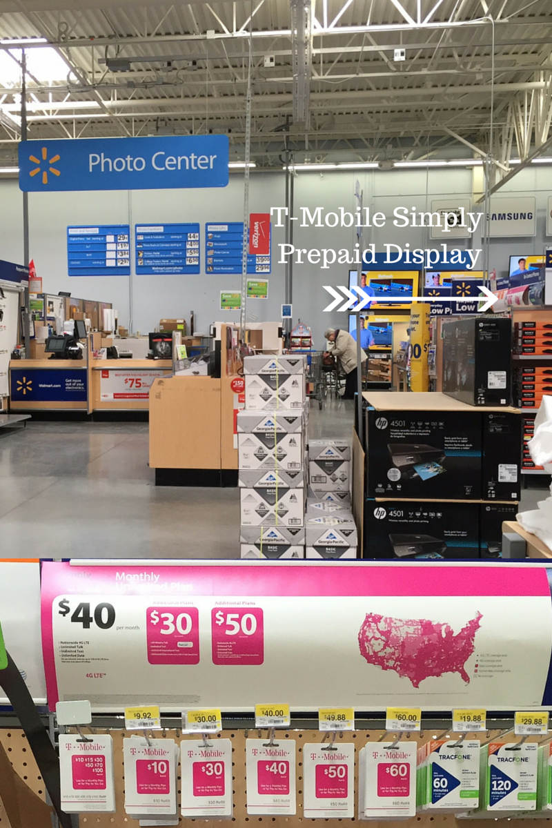 T-Mobile Simply Prepaid display at walmart