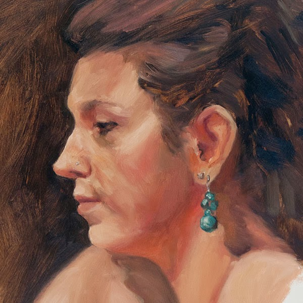 portrait sketch in oils from life, (detail) oil on panel, Shannon Reynolds