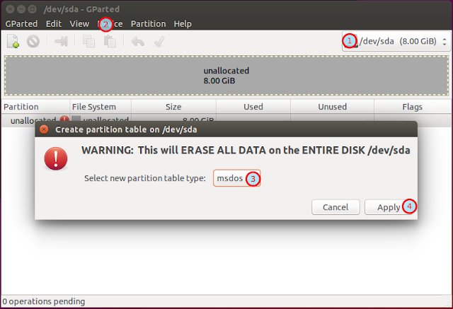 Create partition table in GParted - screenshot