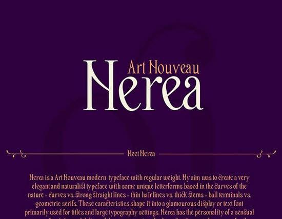 Nerea Art Nouveau free font
