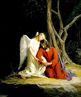 Jesus at Gethsemane being consoled by an angel