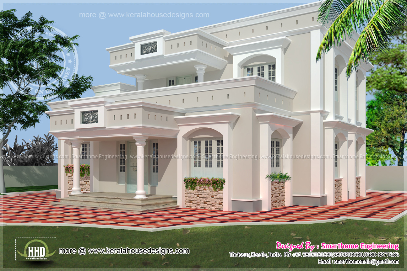 1958 square feet two storey house elevation home kerala for Exterior design of 2 storey house