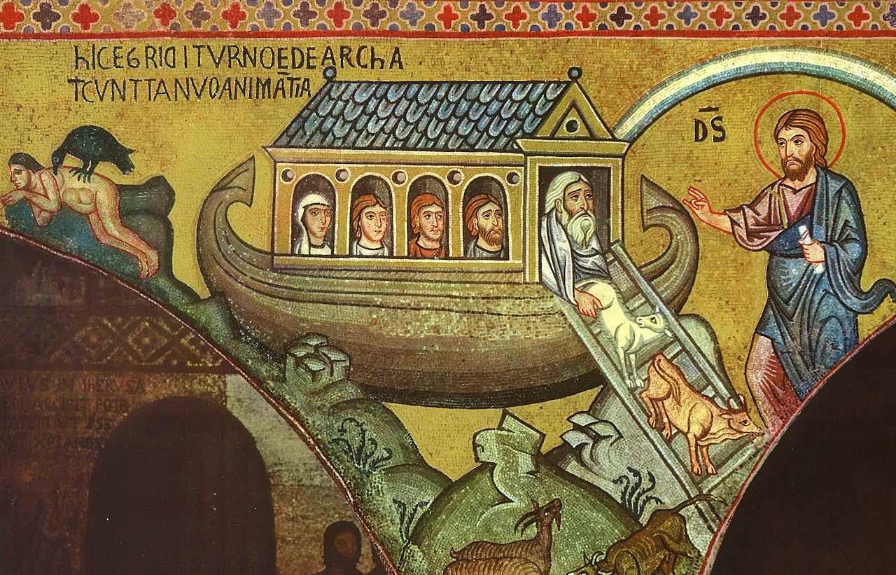 Arca de Noé. Mosaico da Capela Real, Monreale, Sicília.