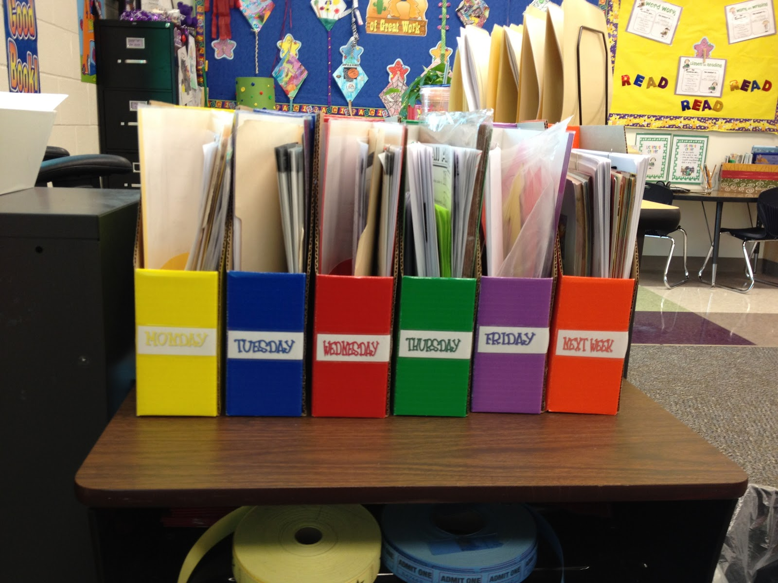 Classroom Storage Ideas ~ Teaching is a work of heart classroom organization