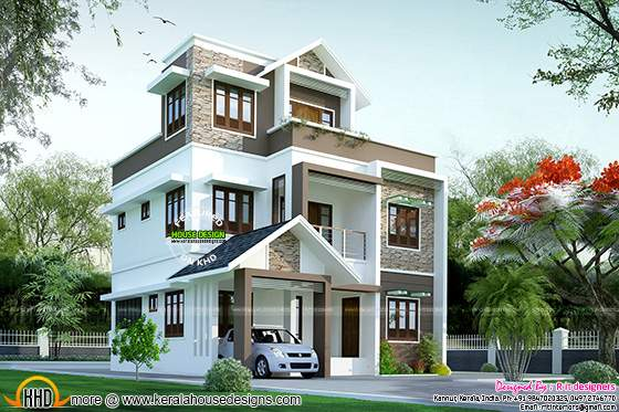 1595 sq-ft small double storied Kerala house