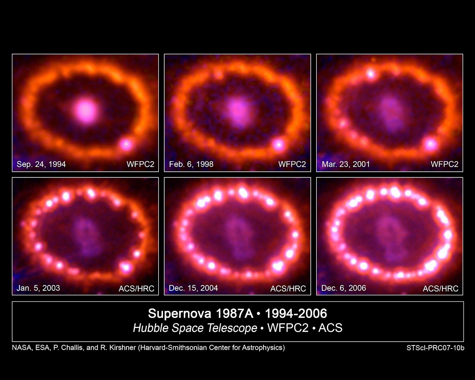 Resultado de imagen de la evolución de los anillos de SN 1987 A