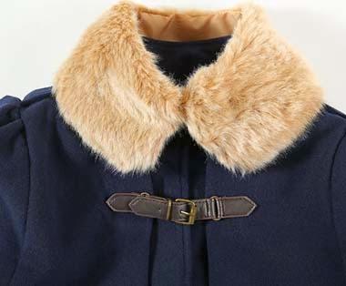 Abrigo con Cuello Imitacion Piel, Capa Corta con Dos Correas