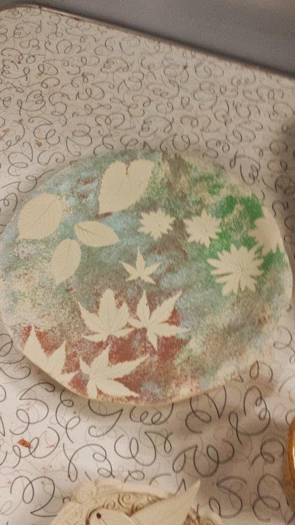Unique nature-inspired handmade ceramic pottery stoneware bowl in progress.