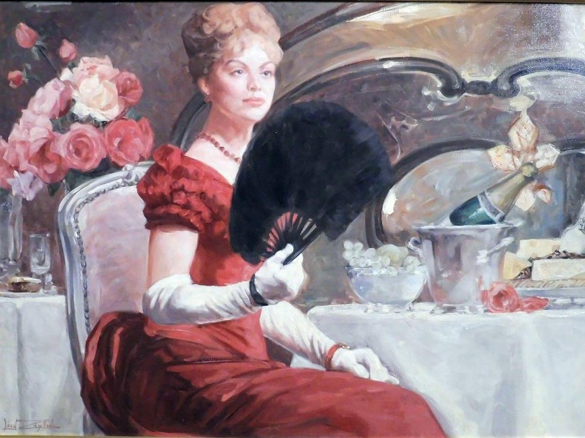 Leon Zeytline Elegante a la robe rouge et a l eventail