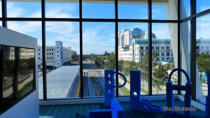 View from children's play area. WPB Bright- line Train Station.