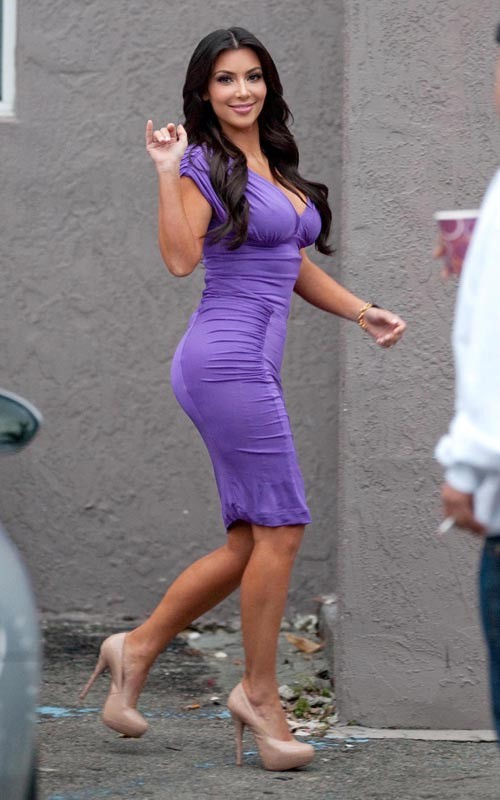 Kim Kardashian In A Purple Tight Dress Kim-Kardashian-1