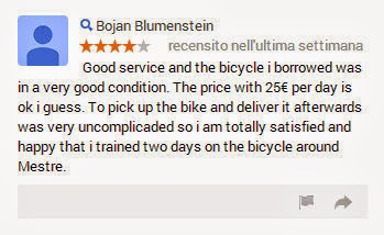 bike rental in venice treviso review