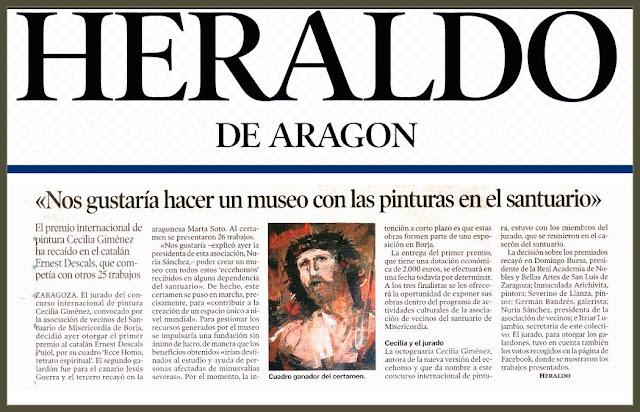 CONCURSO-PINTURA-CECILIA GIMENEZ-ECCE HOMO-HERALDO DE ARAGON-ARTE-PINTOR-ERNEST DESCALS