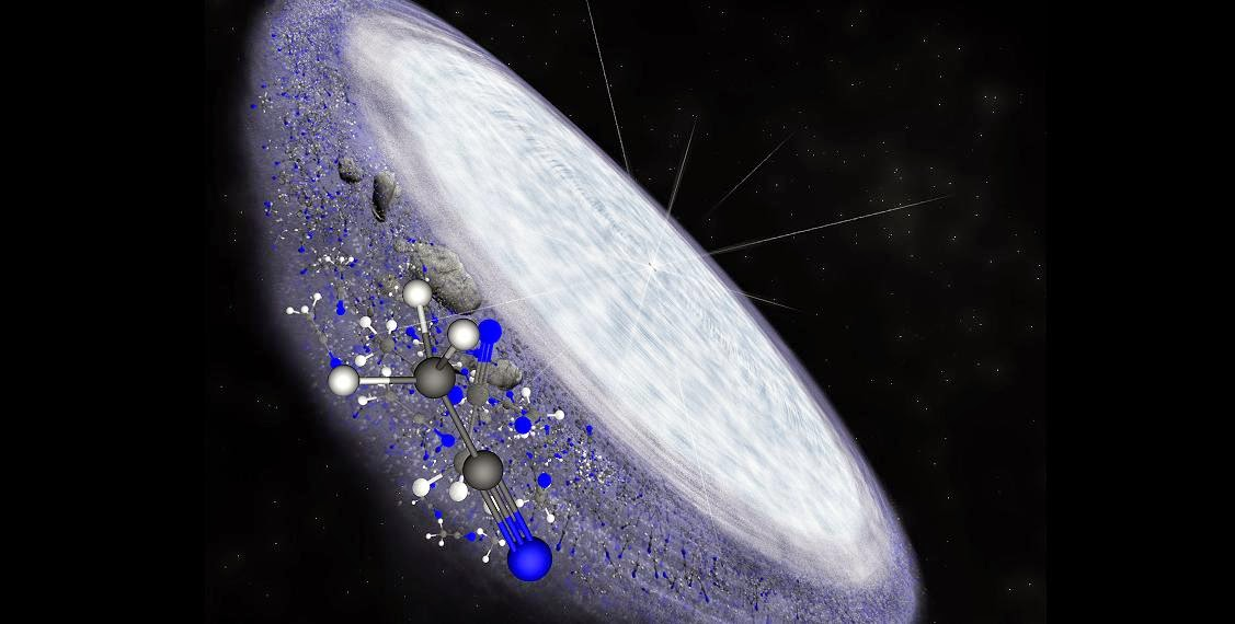 Artist impression of the protoplanetary disc surrounding the young star MWC 480. ALMA has detected the complex organic molecule methyl cyanide in the outer reaches of the disc in the region where comets are believed to form. This is another indication that complex organic chemistry, and potentially the conditions necessary for life, is universal. Credit: B. Saxton (NRAO/AUI/NSF)