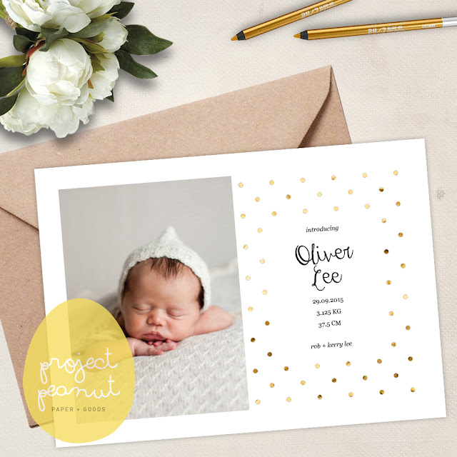 Printable Gold Polka Dot Baby Photo Birth Announcement | projectpeanut.com.au