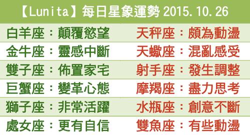 【Lunita】每日星象運勢2015.10.26