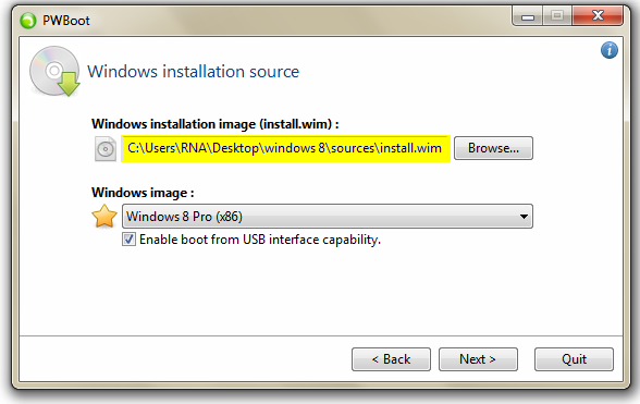 Select The Windows 8 Installation File , install.wim
