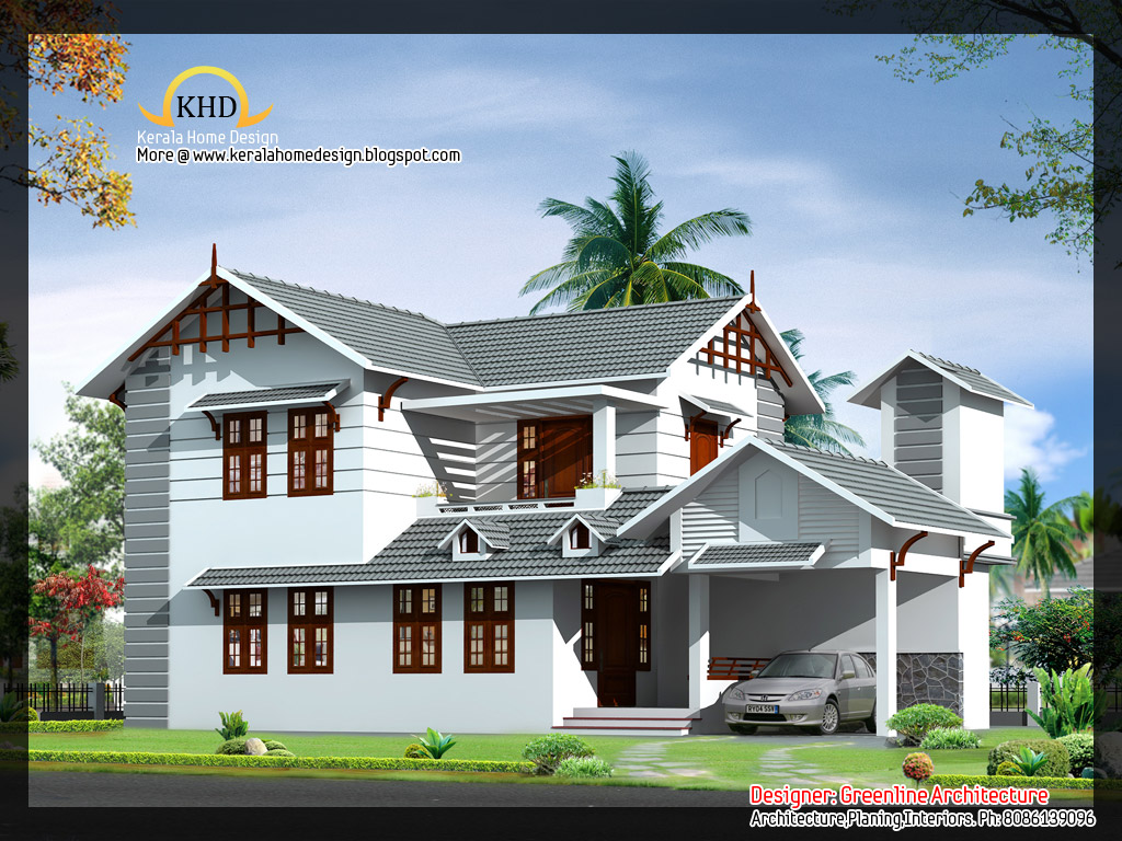 Beautiful villa plan and elevation 1839 sq ft kerala for Indian home designs photos