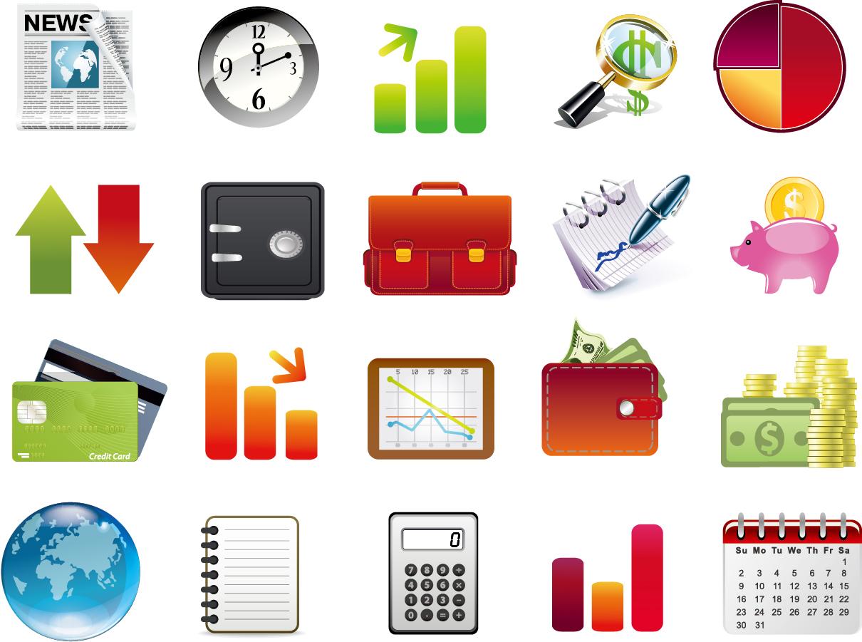 金融関連のアイコン集 Finance Icon Set イラスト素材