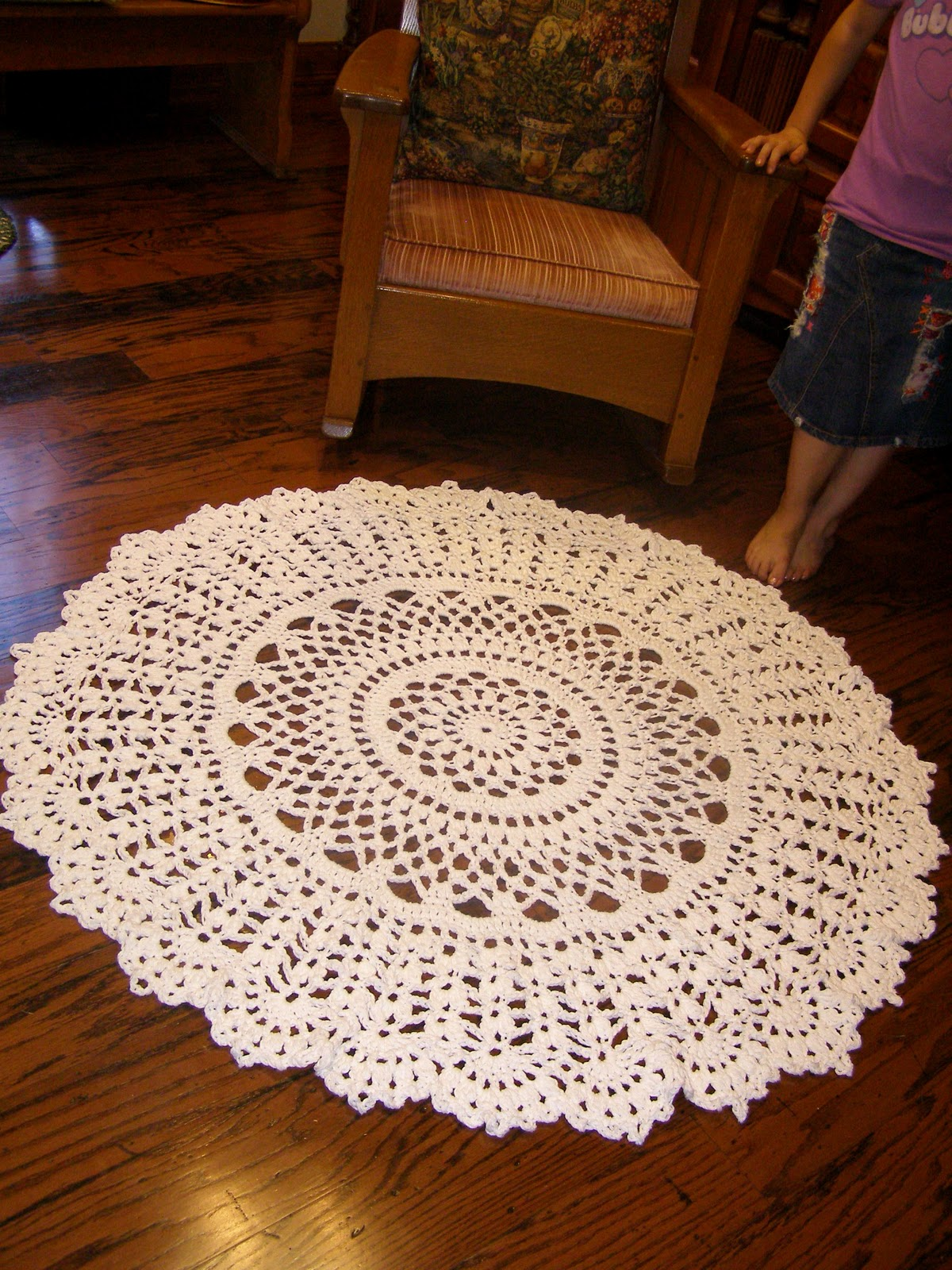 Lace and Whimsy: Crocheted Rug Doily Coverlet Afghan?