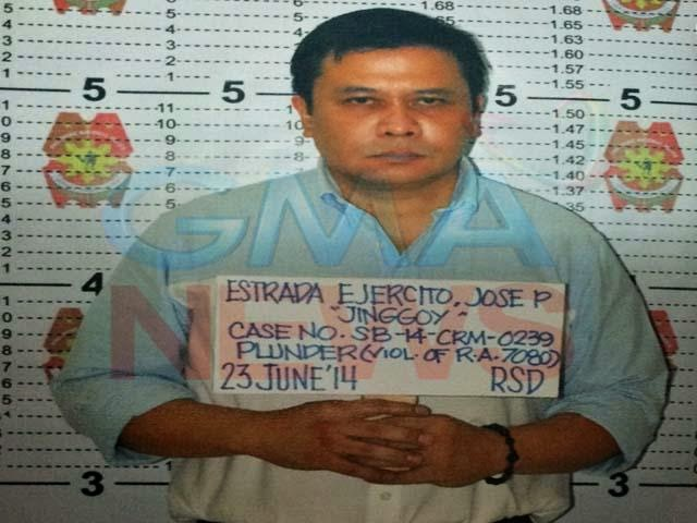 Mugshot of Senator Jinggoy Estrada released by GMA News