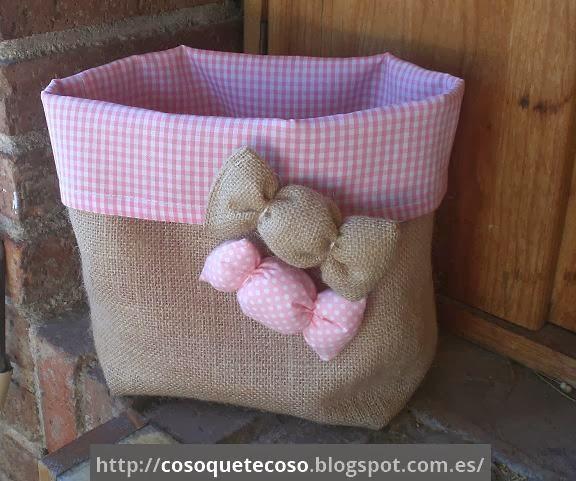 Cosoquetecoso cesta de arpillera con caramelos - Saco de arpillera ...