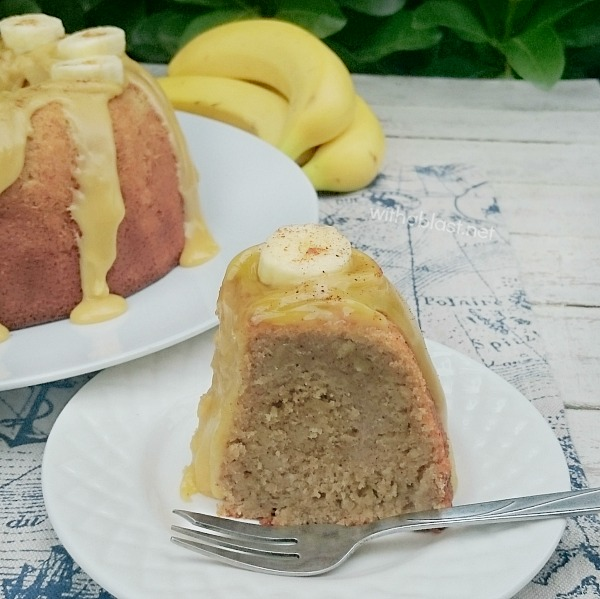 Banana Caramel Cake ~ This Banana Caramel Cake is dense, moist and with a divine {3 ingredients ONLY} Caramel topping !
