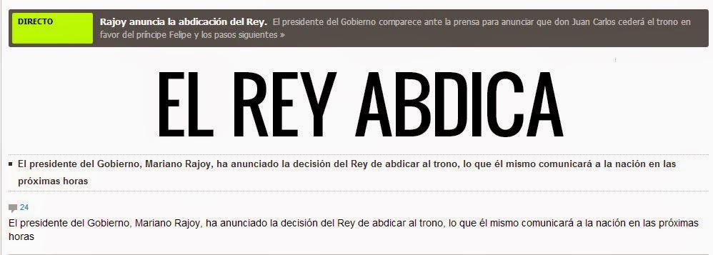 Rajoy anuncia la abdicación del Rey Juan Carlos, portada de El País
