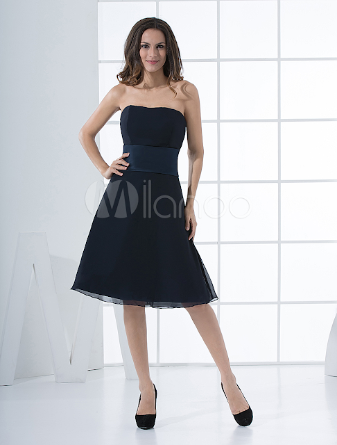 China Wholesale Clothes - Cocktail Dress Dark Navy A-line Strapless Sash Cocktail Dress