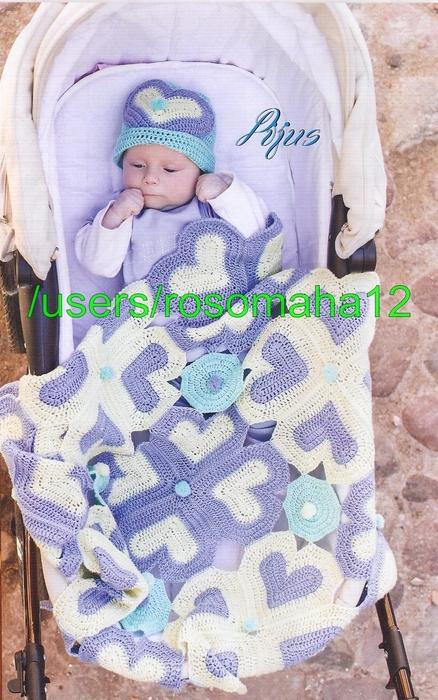 Manta de bebe tejida al crochet con gorro haciendo juego fácil esquemas