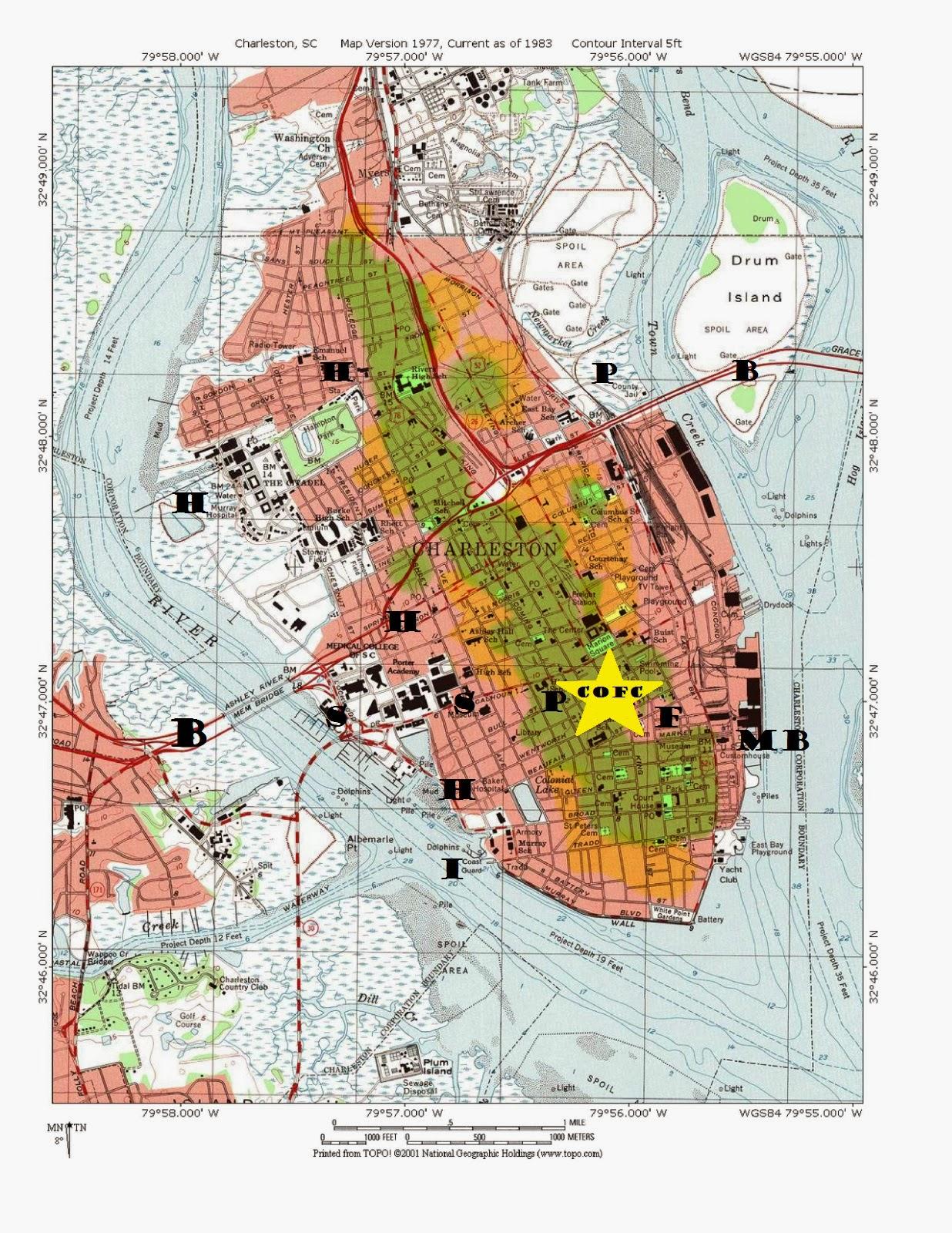 topographic hazard map of charleston with shaded danger zones