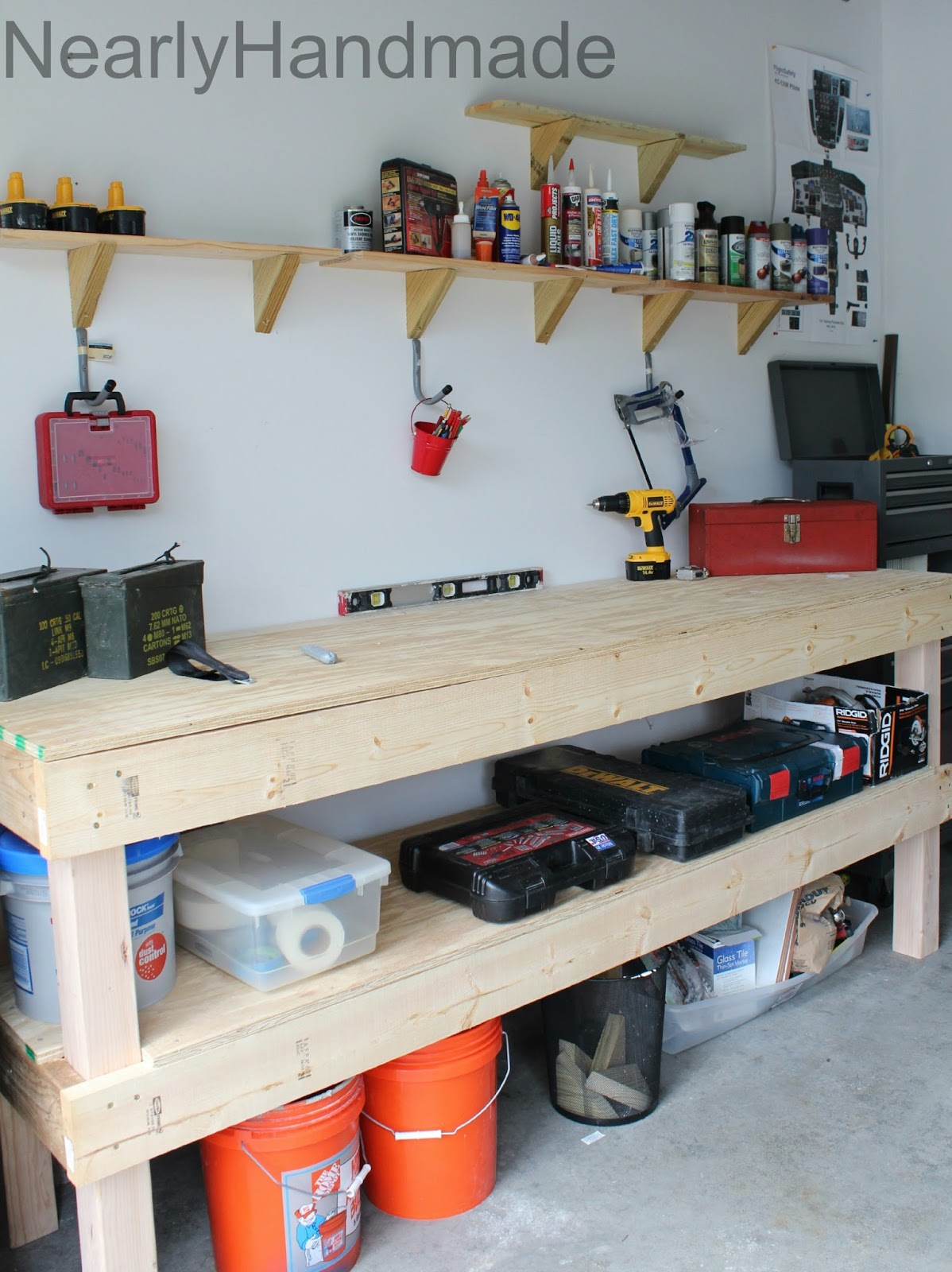 Nearly Handmade: Scrap Lumber Shelves & Adapting the Work Bench