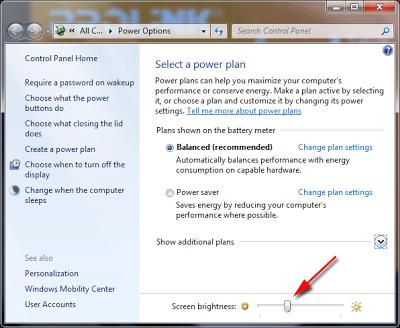 cara mengatur brightness atau kecerahan pada windows 7