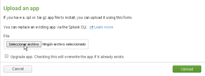 Uploading an app to Splunk