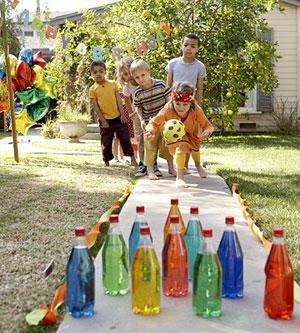 make a backyard bowling alley add a few drops of