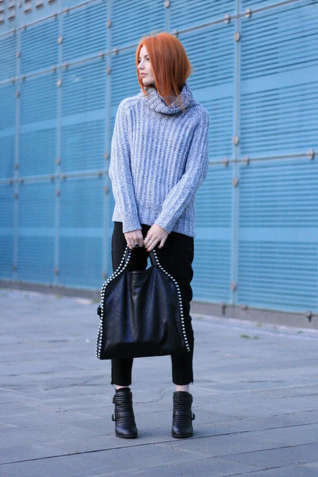 grey roll neck jumper