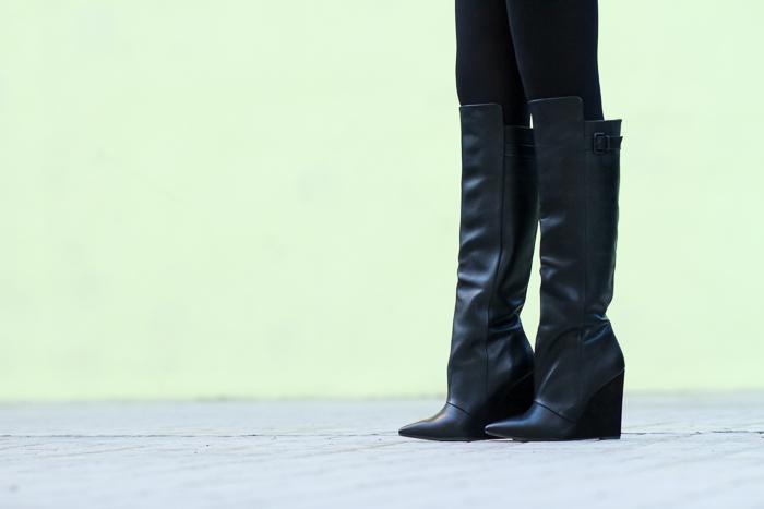 Maxi Botas de Cuña negras de Zara Blogger española Adicta a los Zapatos