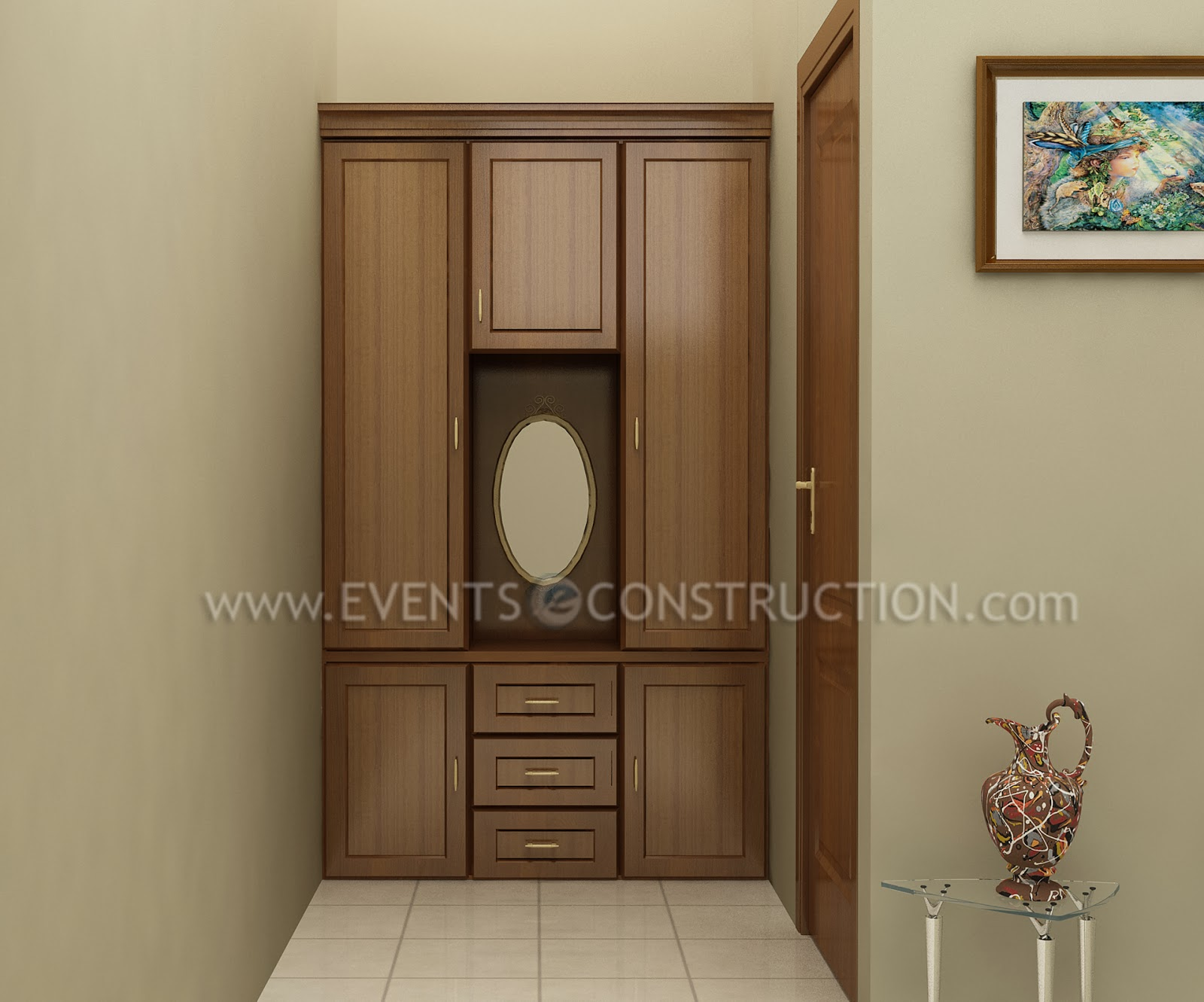 Evens construction pvt ltd dressing area with wardrobe for Dressing area designs