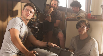 Director William Eubank with Beau Knapp on the set of THE SIGNAL (2014)