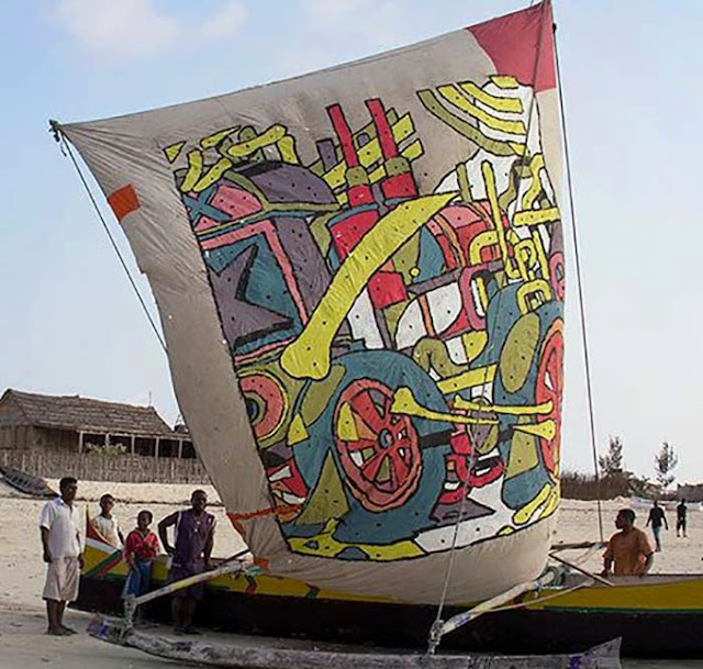 Spanish Street Artist Aryz Paints A Boat Somewhere In Andavadoaka, Madagascar 2