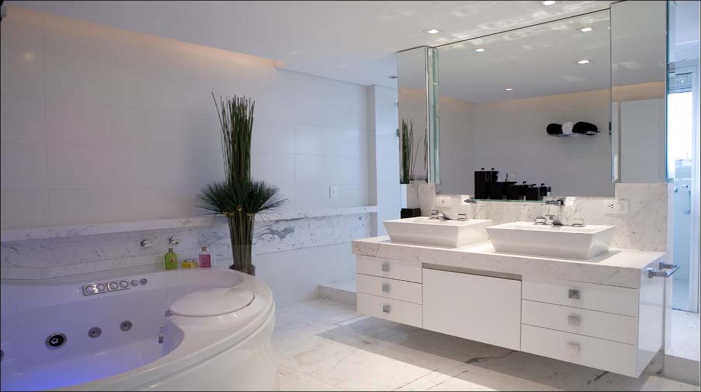 com banheira super moderna com chão iluminado e banheira retangular #51617A 1371 768