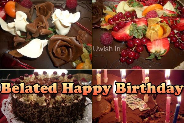 Belated Happy Birthday e greeting cards and wishes with colorful cakes