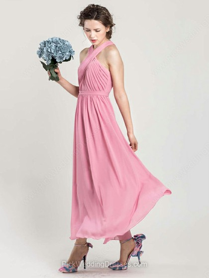 Pink Ankle-length Ruffles Chiffon Halter Pretty Bridesmaid Dress