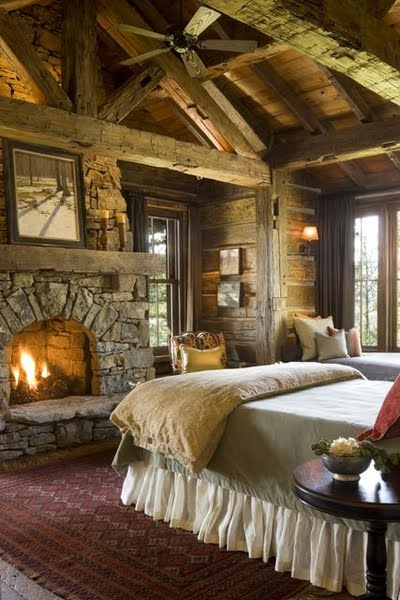 Log Cabin Bedroom with Fireplace