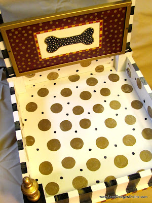 polka dots on dog bed in metallic gold
